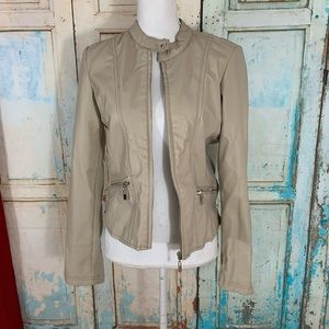 Therapy beige faux leather jacket